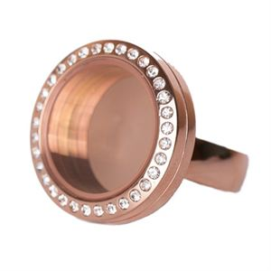 Picture of Rose Gold with Crystals Medium Locket Ring - Size 7
